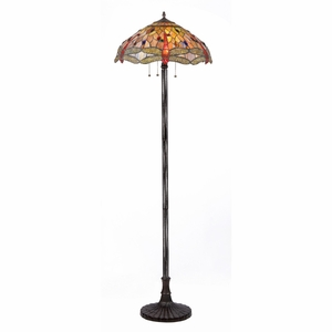 "ANISOPTERA PURITY Tiffany-style 3 Light Dragonfly Floor Lamp 18"" Shade"