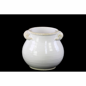 Fascinating Round Bellied Tuscan Pot with Handles- Small- White- Benzara