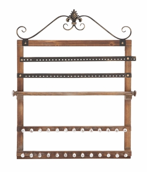 Fascinating Styled Wood Wall Jewelry Rack - 51063 by Benzara