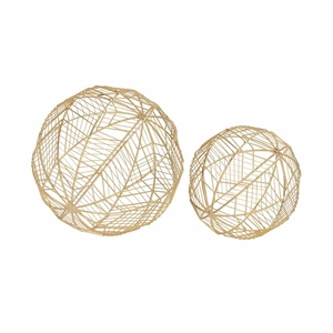 Fashionable Metal Wire Orb Gold Set Of 2 - 54719 by Benzara