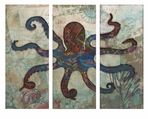 Fashionable Splash Tryptych Octopus