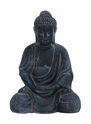 Fiber Clay Buddha in Antiqued Black Finish with Fine Detailing - 50811 by Benzara