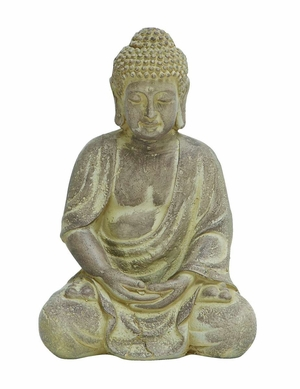 Fiber Clay Buddha in Sitting Pose with Antiqued Yellow Finish - 50809 by Benzara