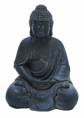 Fiber Stone Buddha with Elegant Detailing in Black Color - 50813 by Benzara