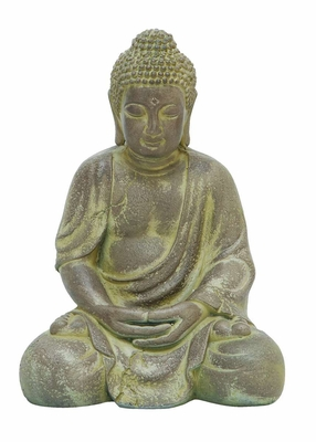 Finely Detailed Fiber Clay Buddha in Antiqued Yellow Finish - 50812 by Benzara