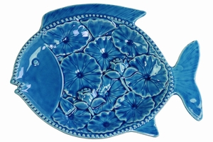 Fish Platter with Floral Design - Blue - Benzara
