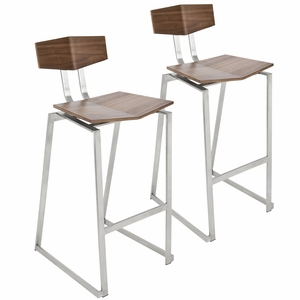 Flight Contemporary Stainless Steel Barstool in Walnut Wood By LumiSource - Set of 2