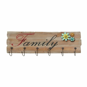 Family Themed Floral Metal Wooden Wall Hook Panel - 93940 by Benzara