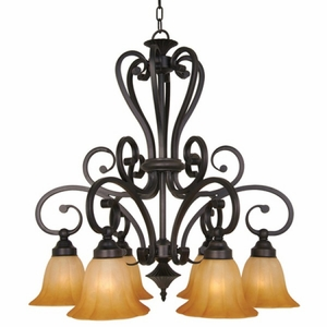 Yosemite Home Decor Florence Collection Unique Styled 6 Light Chandelier with shade in Venetian Bronze