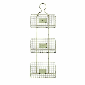 Three Tiered Metal Wire Basket Shelf with White Weathered Accent - 34916 by Benzara