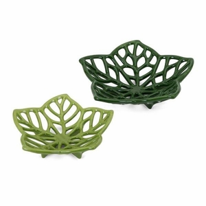 Floriana Ceramic Cutwork Flowers - Set of 2, Green & White - Benzara