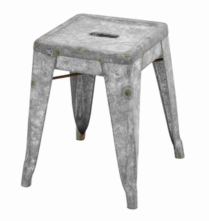 Classic Metal Galvanized Counter Stool (Small) - 49109 by Benzara