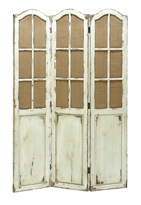 Simple And Elegant Folding Wooden Screen With Paneled Design - 20400 by Benzara