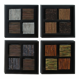 Wood Wall Decor Set Of 4 Assorted With Multicolor Rectangular Frames - 13938 by Benzara