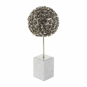 Formidable Metallic Rose Ball With Marble Base, Chrome Silver - 72950 by Benzara