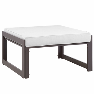 Fortuna Outdoor Patio Ottoman Brown White