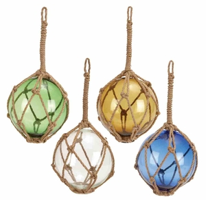 Glass Float With Rope 4 Assorted White, Blue, Green And Yellow