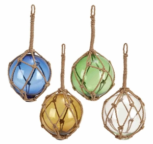 Glass Float W Rope 4 Assorted Unique Decor - 71580 by Benzara