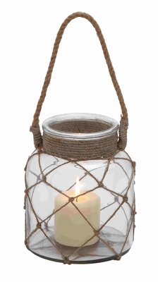 Jute Rope Netted Glass Jar Candle Lantern With A Sturdy Rope Handle - 28855 by Benzara