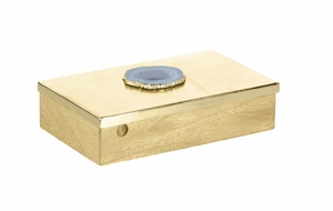 Frantic Wood Metal Box With Agate Stone - 42249 by Benzara