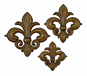 Metal Wall Decor Set Of 3 With Bronze Finish In Flower Design - 41803 By Benzara