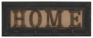 Rustic Wood Metal Wall Hook Assorted With The Word Home - 20413 by Benzara
