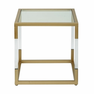 Functional Metal Glass Acrylic End Table by Benzara