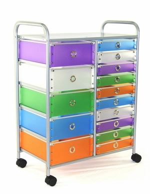 4D Concepts Funky Multicolored fifteen Drawer Metal Rolling Stand
