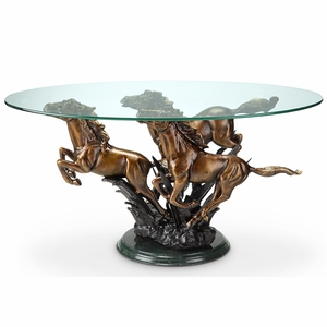 Galloping Horse Trio Stand Coffee Table in Antique Bronze by SPI-HOME