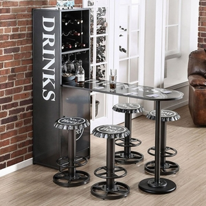 Galvan Industrial Wine Cabinet With Foldable Table In Gunmetal Finish