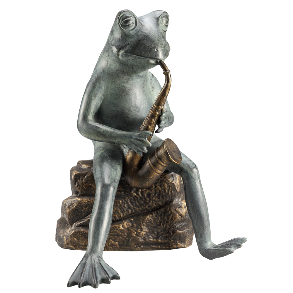 SPI HOME 33828 Garden Sculpture Of Frog Bluesman Playing Saxophone With  Bluetooth Speaker By SPI HOME