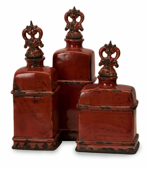 Garnet Bottles with Finials - Set of 3