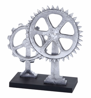 Gear Decor The Sign Of Modern Age Decor With Two Metal Gears  - 35298 by Benzara