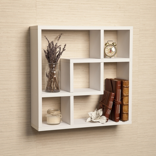 buy geometric square wall shelf with 5 openings white by. Black Bedroom Furniture Sets. Home Design Ideas