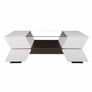 Geovaney White Glass Design Coffee Table