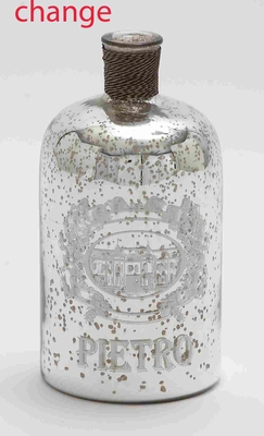 24904 Glass And Metal Bottle For Moderndecor With Striking Design - 24904 by Benzara