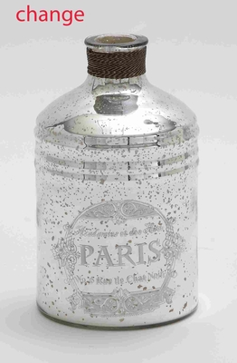 24901 Glass And Metal Bottle For Moderndecor With Striking Design - 24901 by Benzara