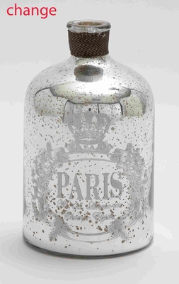 24905 Glass And Metal Bottle For Moderndecor With Striking Design - 24905 by Benzara
