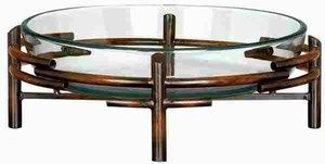 GLASS BOWL METAL STAND BEAUTIFULLY SCULPTURED - 72257 by Benzara