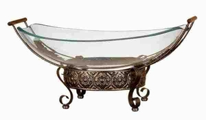 GLASS BOWL METAL STAND WITH ROUND METALLIC STRUCTURE - 72259 by Benzara