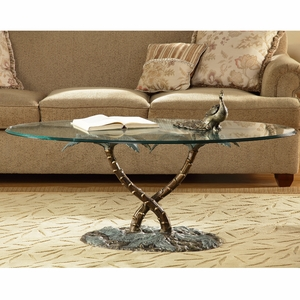 Glass Topped Coffee Table with Twin Palm Trees Sculpture by SPI-HOME