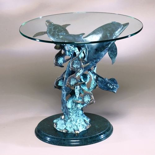 spi home 30307 glass topped end table with dolphin sea world sculpture by spi home. Black Bedroom Furniture Sets. Home Design Ideas
