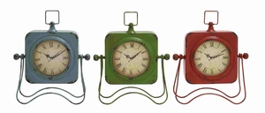 Adorable Metal Table Clock Assorted Set Of Three With Vibrant Colors Of Blue, Green - 34923 by Benzara
