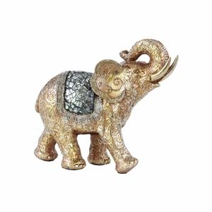 Gold Trumpeting Elephant Figurine Engraved Design Mirror-Benzara