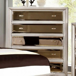 Golva Five Drawer Contemporary Style Chest, Silver