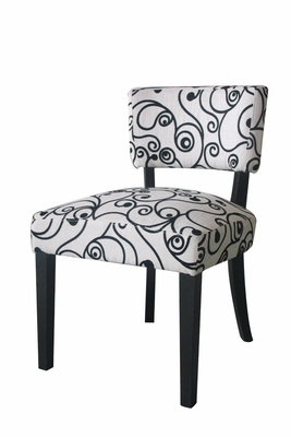 4D Concepts Gorgeous Black and White Swirl Designed Accent Chair