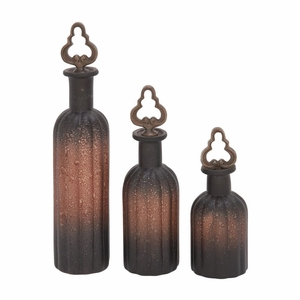 Gorgeous Glass Stopper Bottle Set Of 3 - 24788 by Benzara