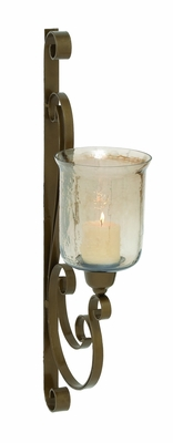 Gorgeous Indian Metal Glass Wall Candle Sconce - 23818 by Benzara