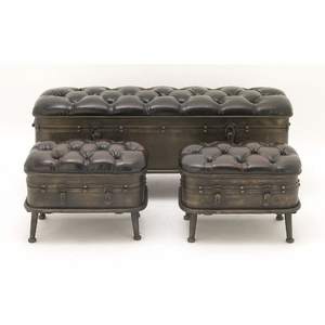 Gorgeous Metal Leather Ottoman Set Of 3 - 55778 by Benzara