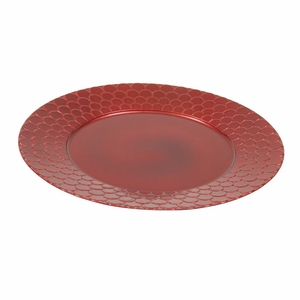 Gorgeous Scallop Design Charger Plate in Red Set of 24 - 62660 by Benzara